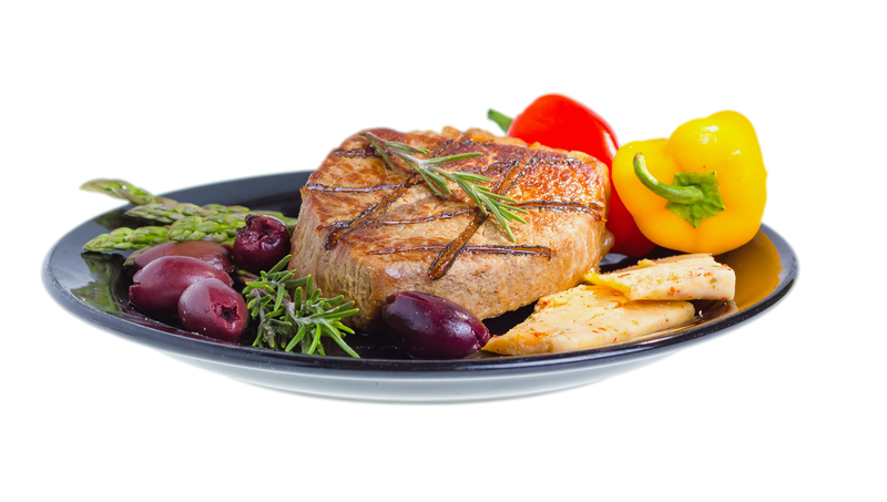 Mediterranean Atkins Diet Meal that includes Grilled Pork Chop, Peppers and Olives.