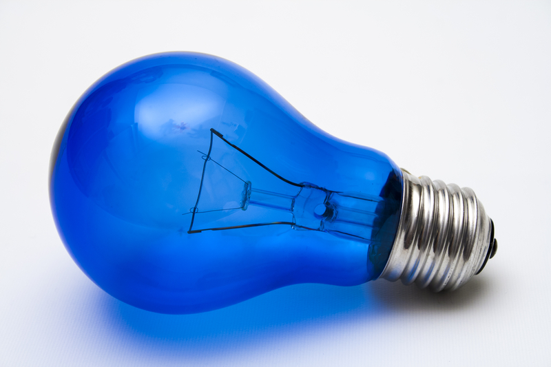 a blue colored light bulb